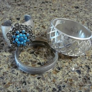 Jewelry - Lot of 3 Silver-tone Bracelets & Turquoise Cuff
